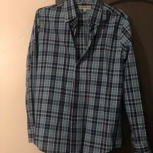 Express Blue and navy Blue Plaid button down shirt